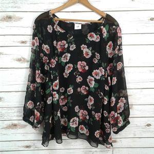 CAbi Garden Blouse Sheer V-neck Top Black Floral